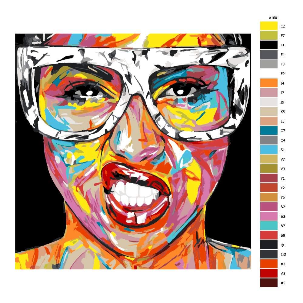 Návod pro malování podle čísel Dívka s brýlemi