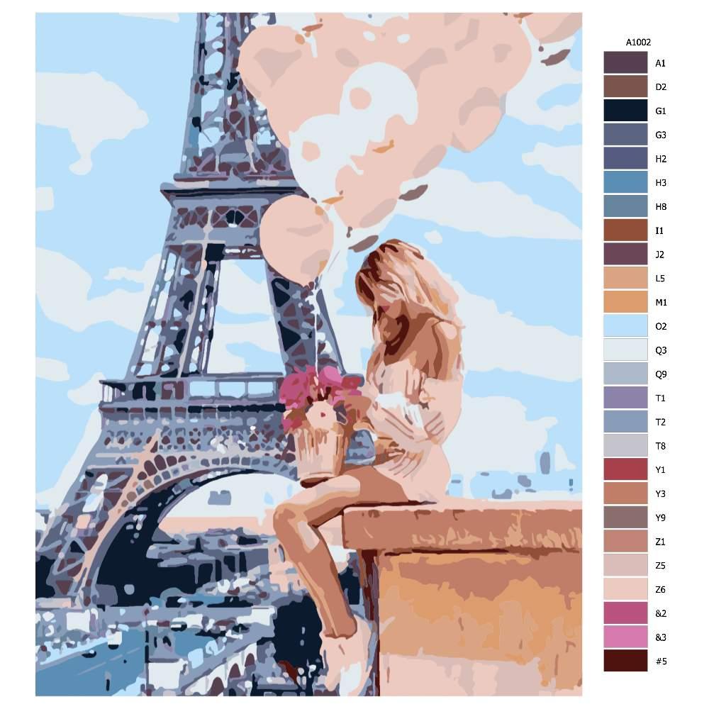 Návod pro malování podle čísel Dívka s balónky