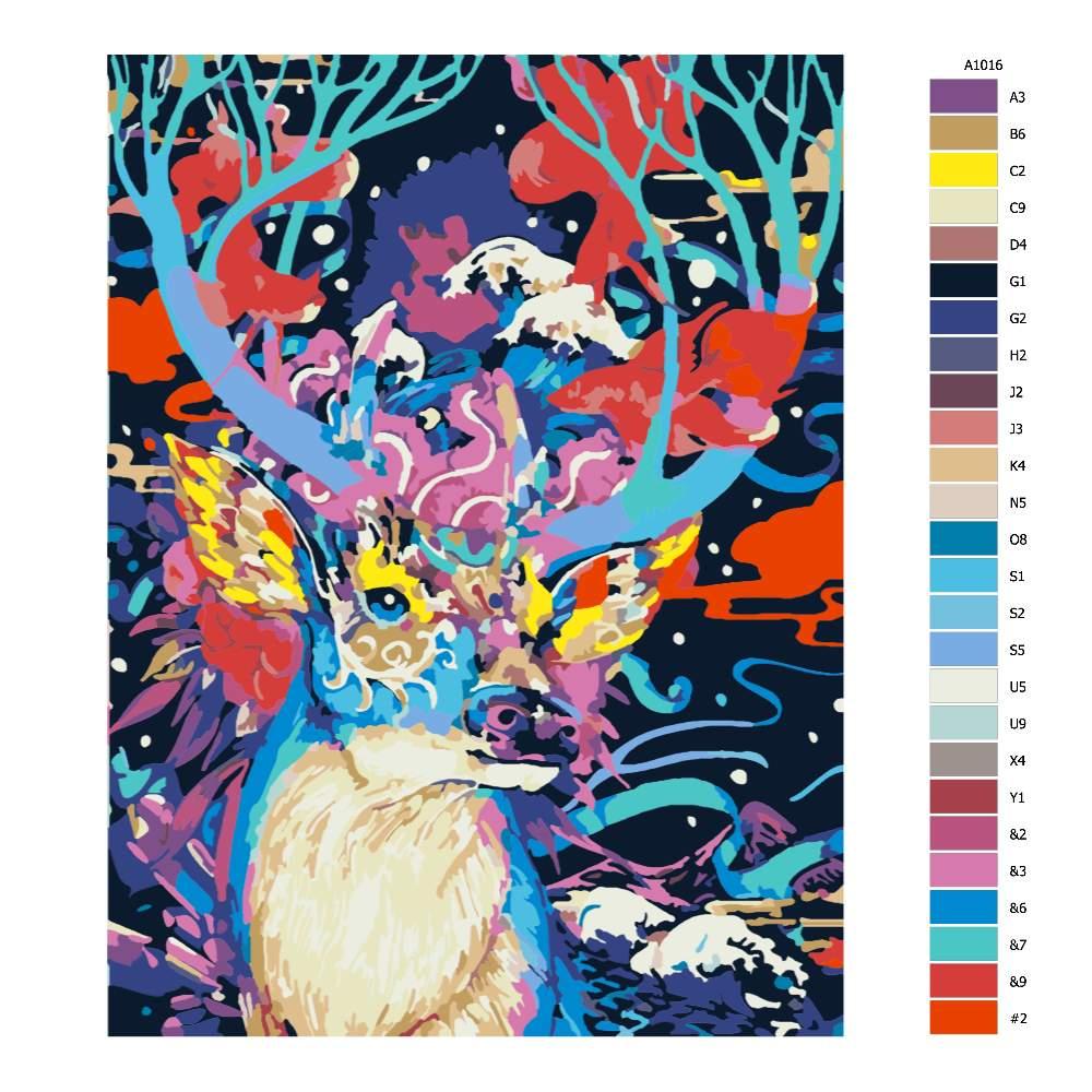 Návod pro malování podle čísel Jelen v barvách