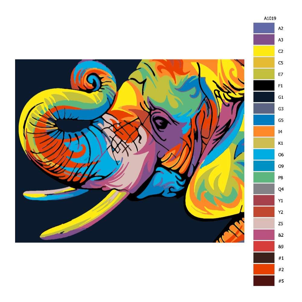 Návod pro malování podle čísel Sloní