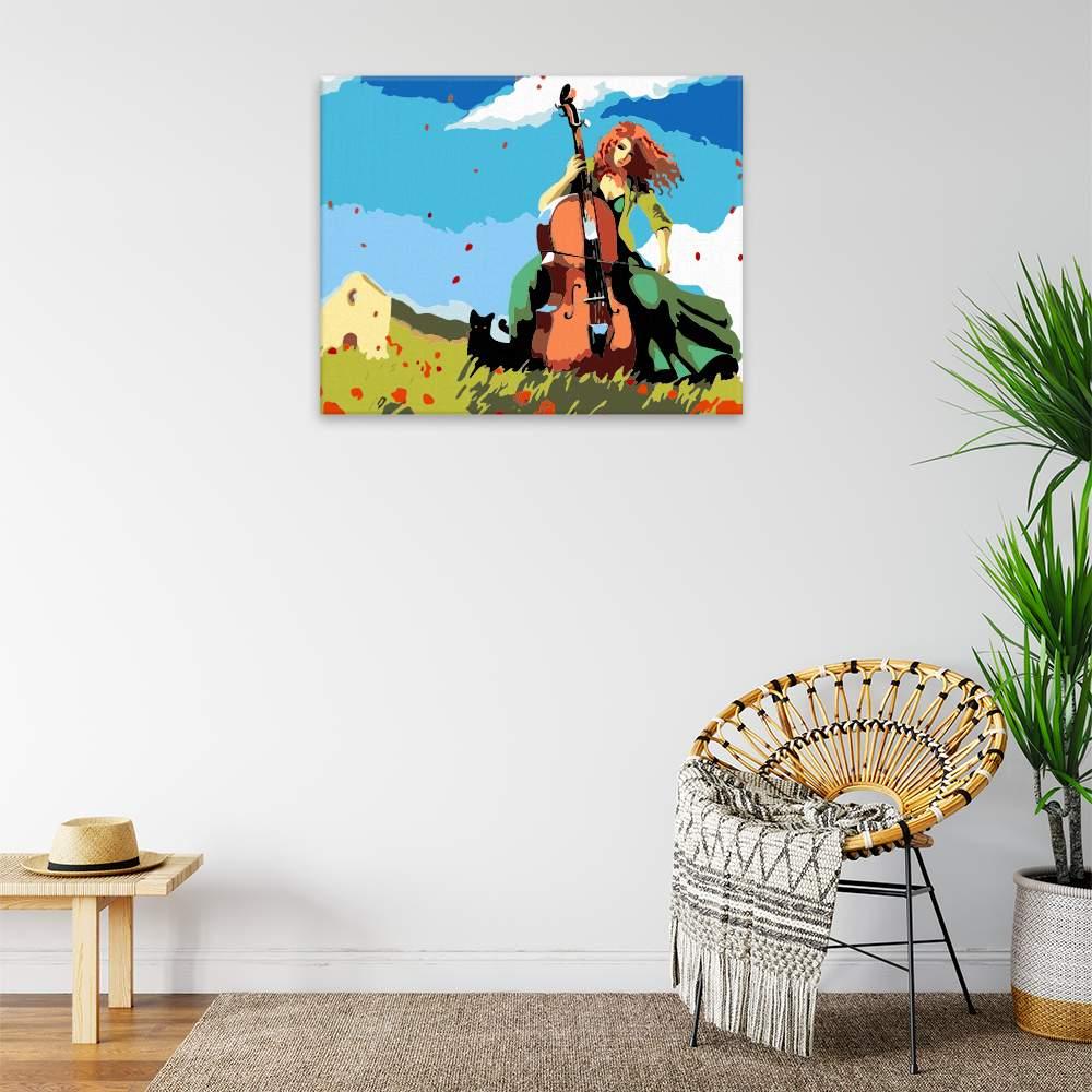 Obraz na zdi S basou na louce