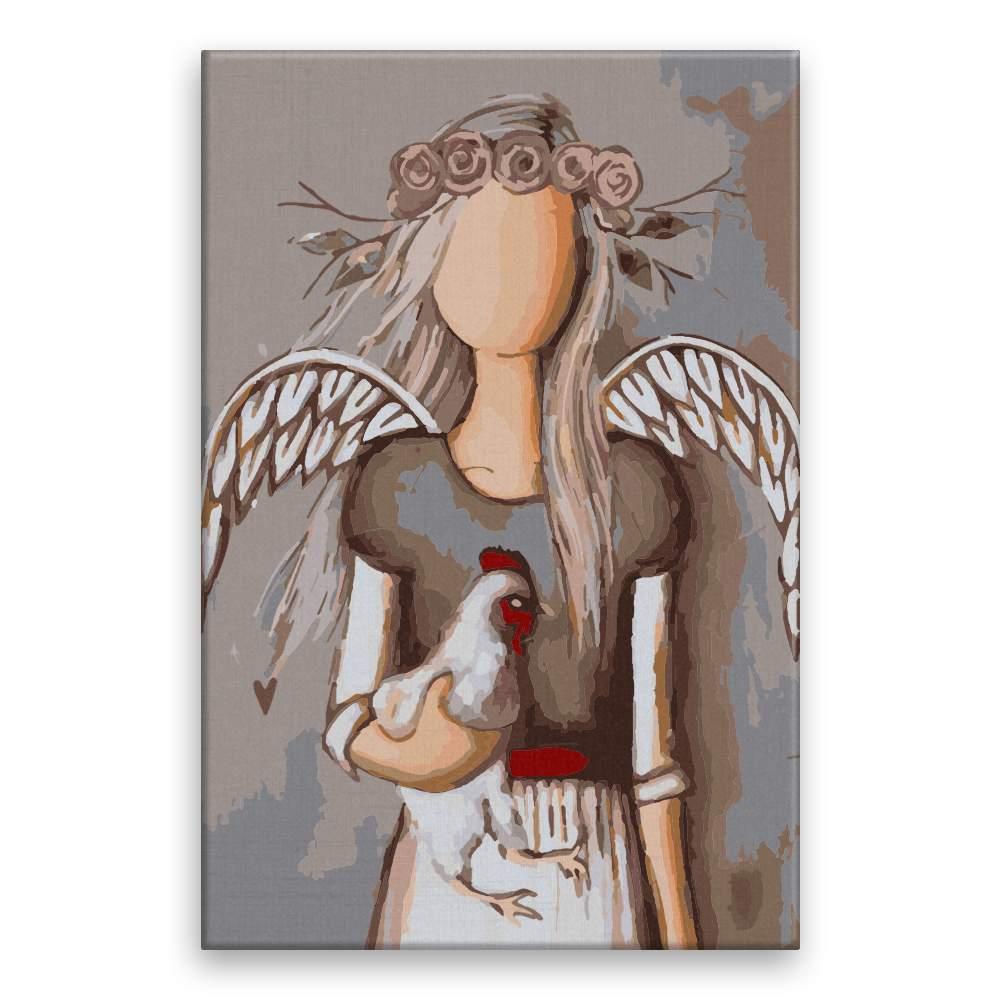 Malování podle čísel Anděl se slepicí