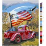 Malování podle čísel Auto s vlajkou