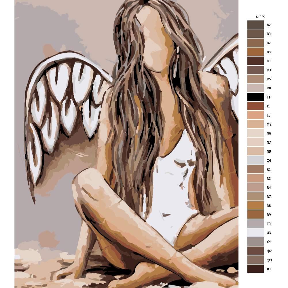 Návod pro malování podle čísel Pouze anděl