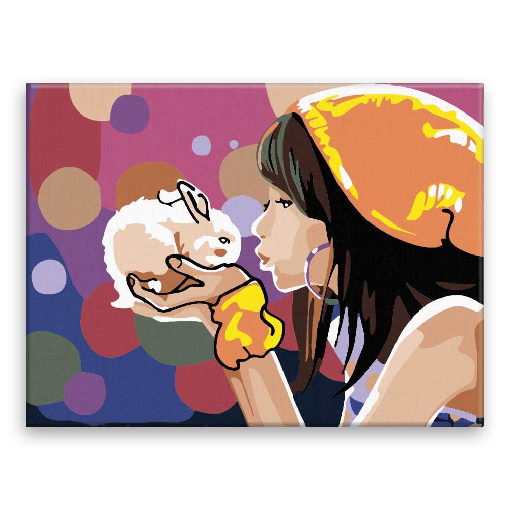 Malování podle čísel Dívka s králíčkem