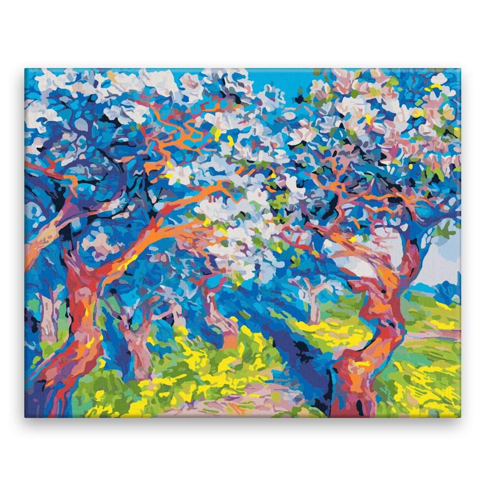 Malování podle čísel Rozkvetlé stromy