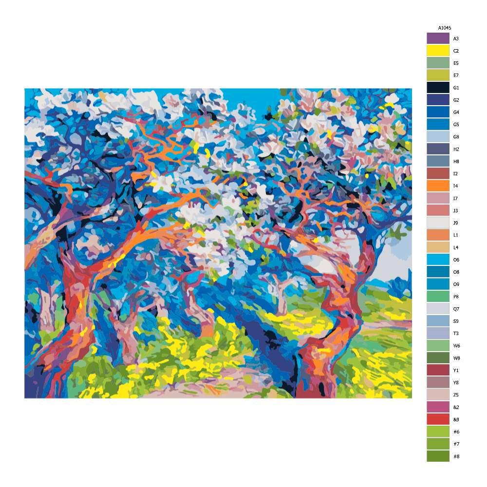 Návod pro malování podle čísel Rozkvetlé stromy