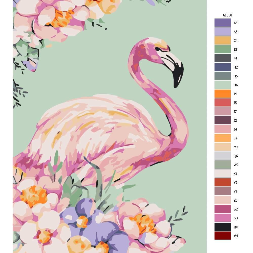 Návod pro malování podle čísel Plameňák v květech