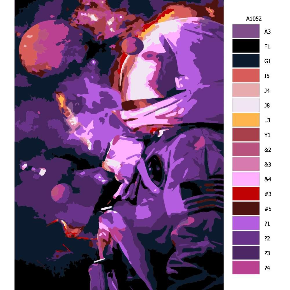 Návod pro malování podle čísel Astronout ve hvězdách