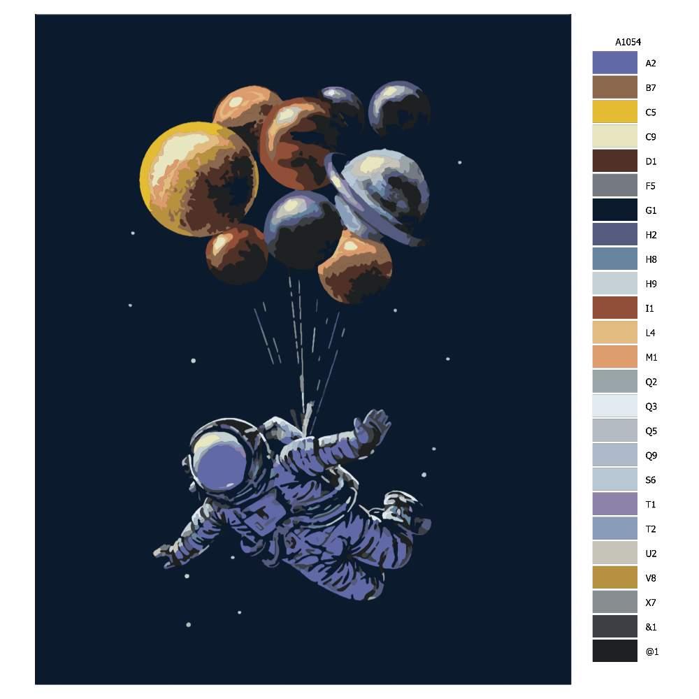 Návod pro malování podle čísel Astronout a balonky