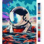 Malování podle čísel Plovoucí astronout