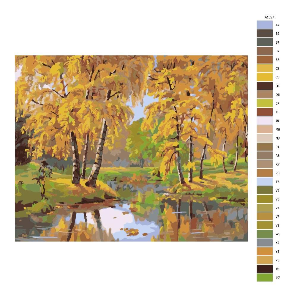 Návod pro malování podle čísel Podzimí jezírko