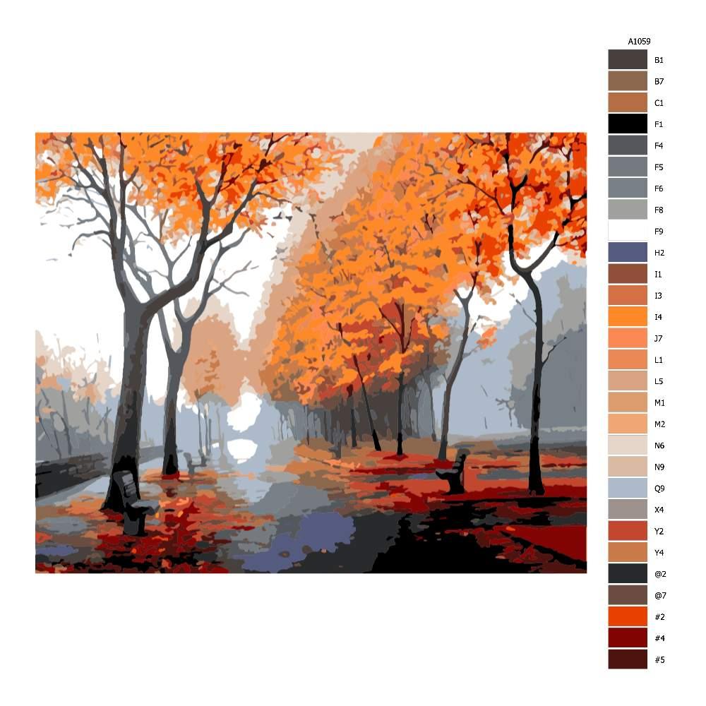 Návod pro malování podle čísel Podzim v ulicích