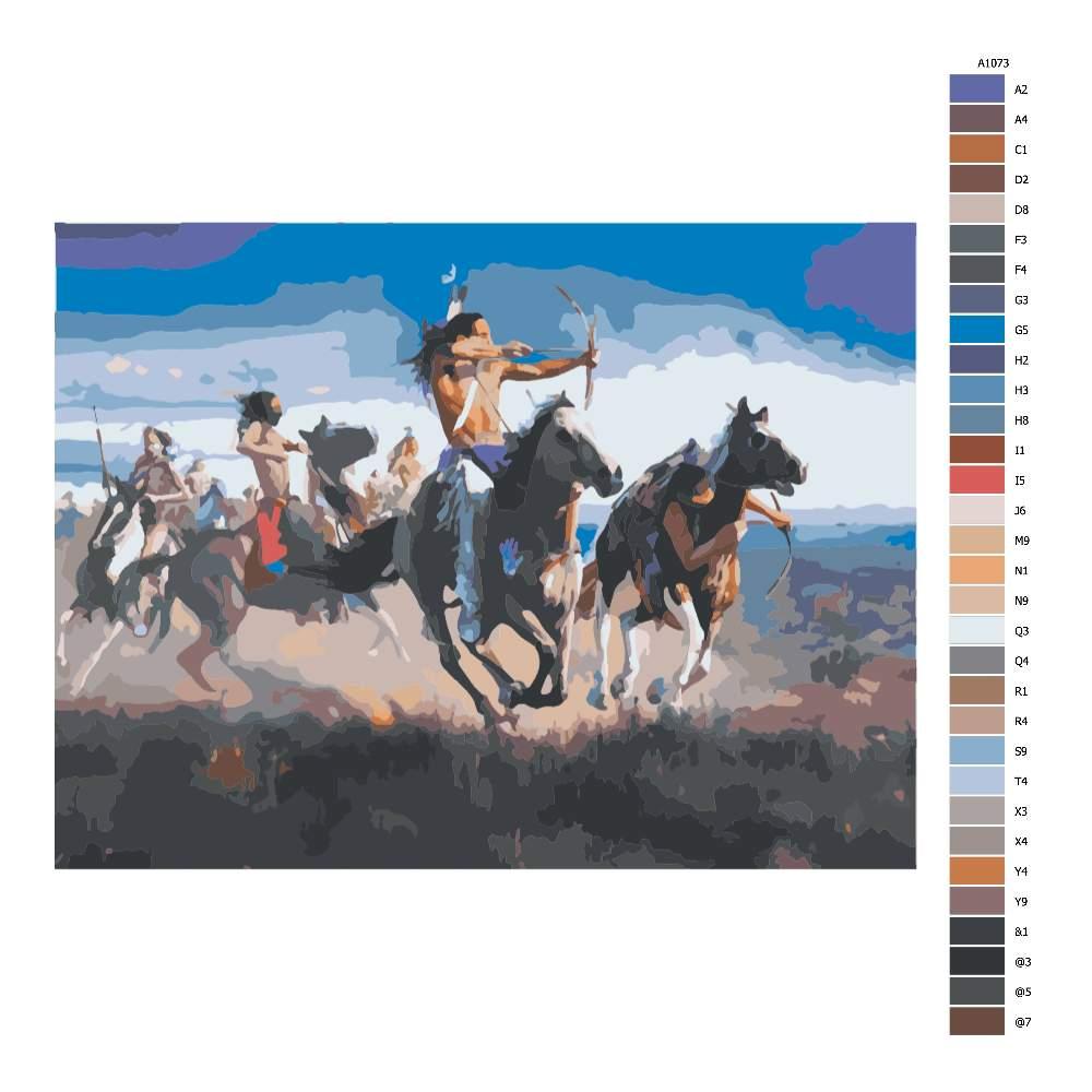 Návod pro malování podle čísel Indiáni v boji