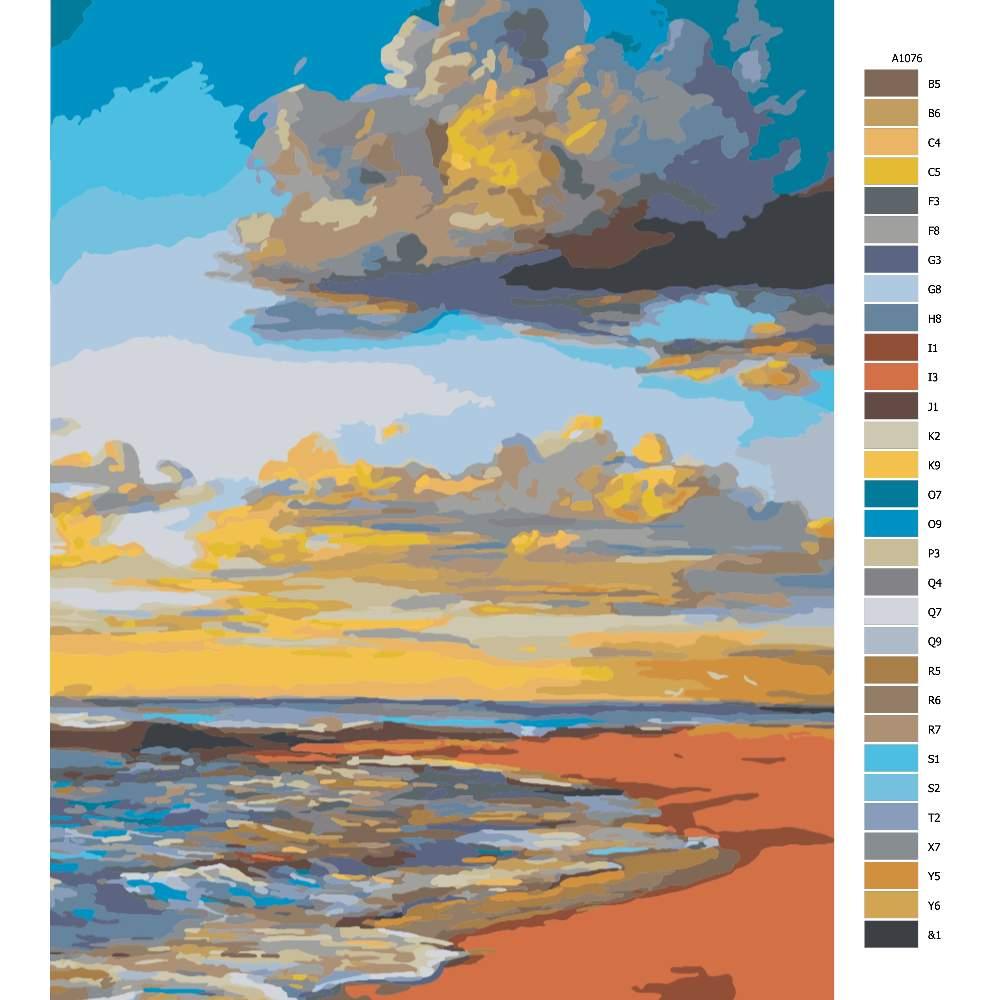 Návod pro malování podle čísel Večerní pláž