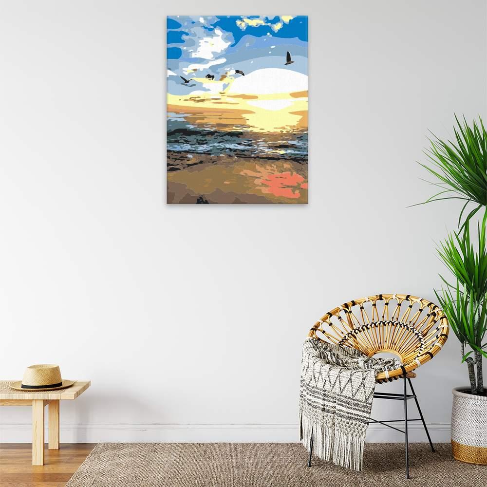 Malování podle čísel Západ slunce u moře