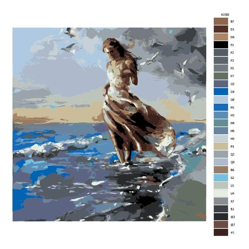 Návod pro malování podle čísel Brouzdání v moři