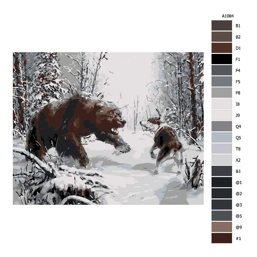 Návod pro malování podle čísel Souboj medvěda se psem