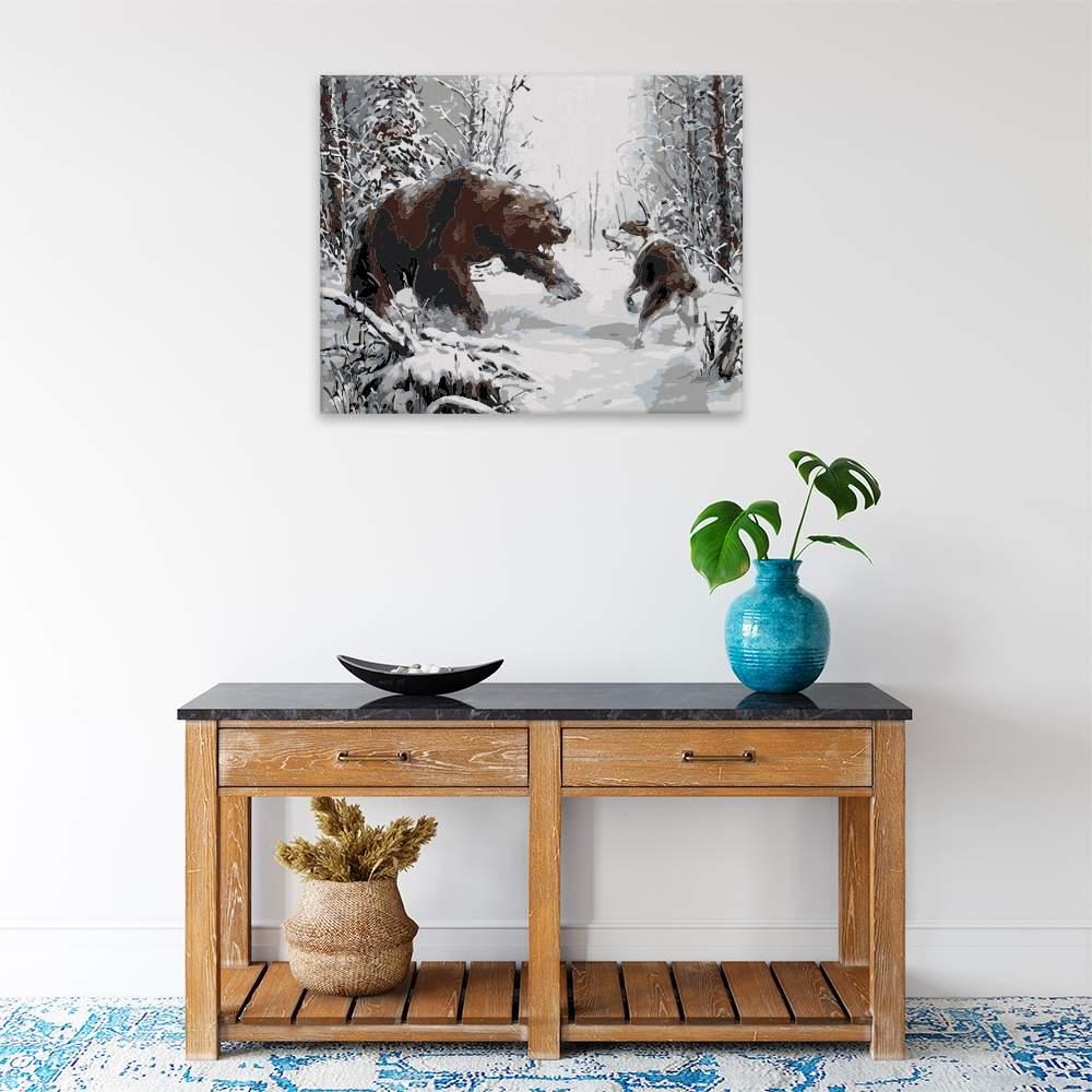 Malování podle čísel Souboj medvěda se psem