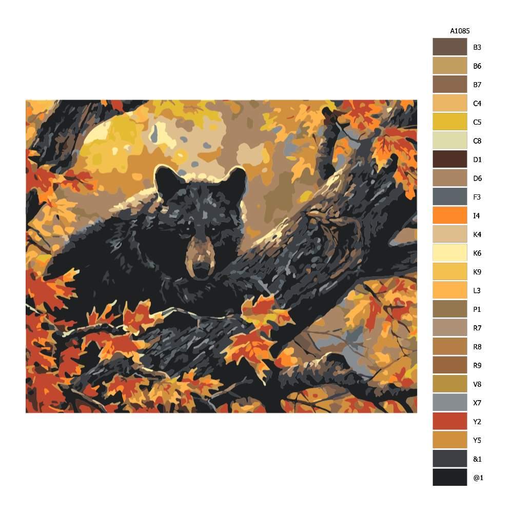 Návod pro malování podle čísel Medvěd na stromě