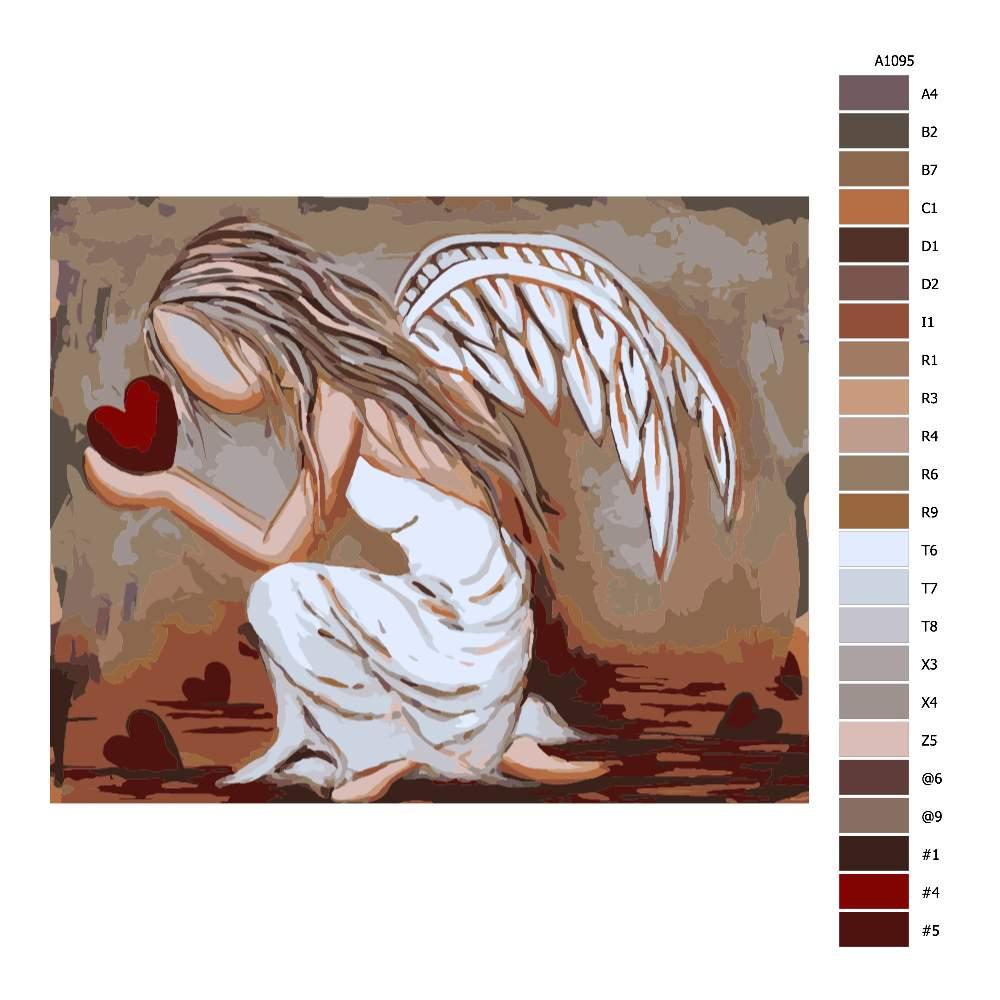 Návod pro malování podle čísel Anděl lásky