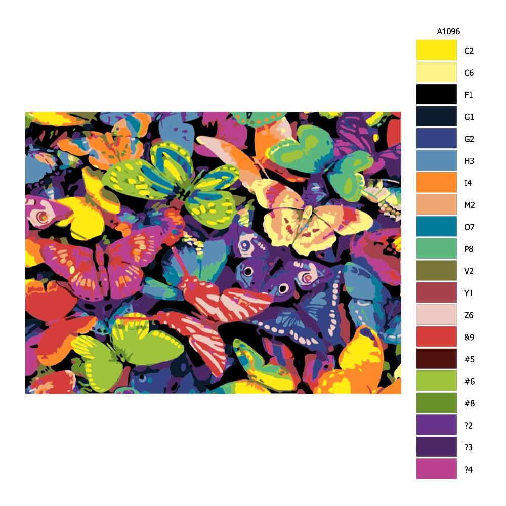 Návod pro malování podle čísel Motýli v barvách