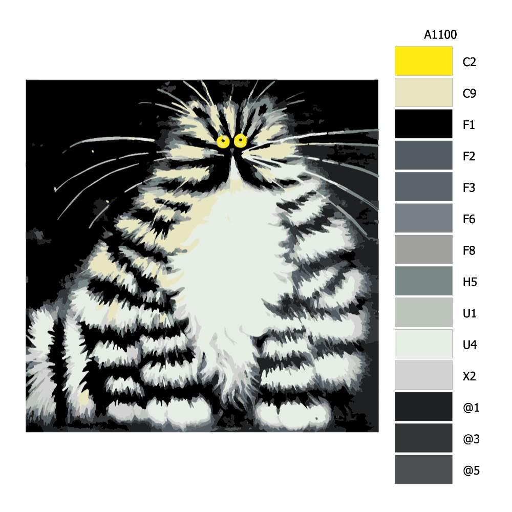 Návod pro malování podle čísel Pohádková kočka