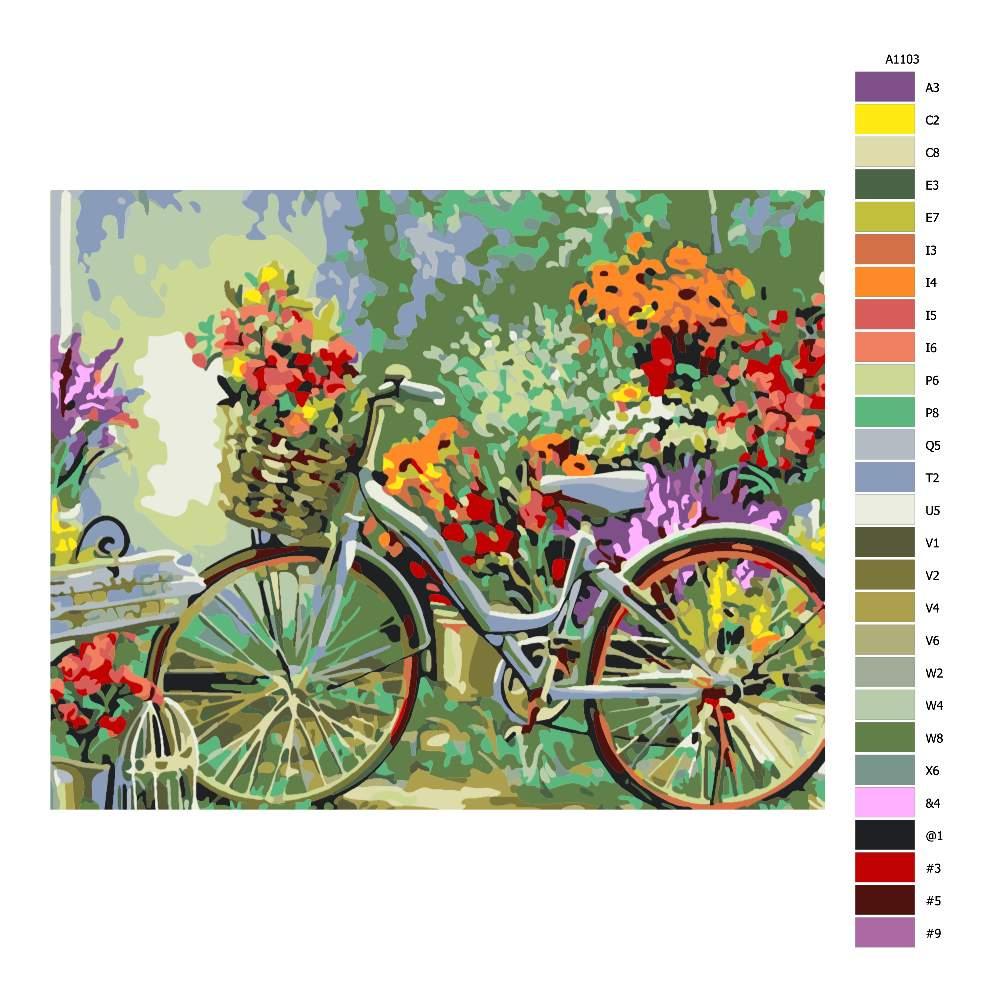 Návod pro malování podle čísel Kolo s květinami