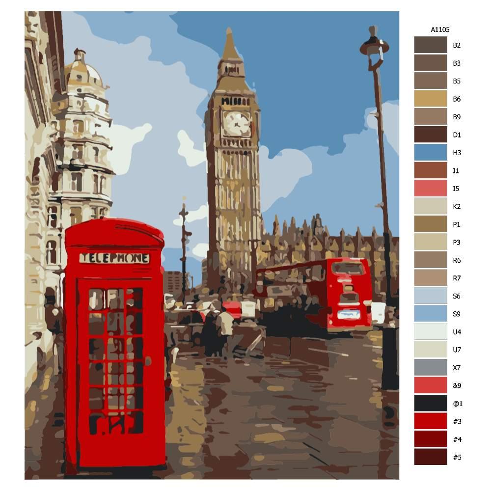 Návod pro malování podle čísel Londýnský Big Ben