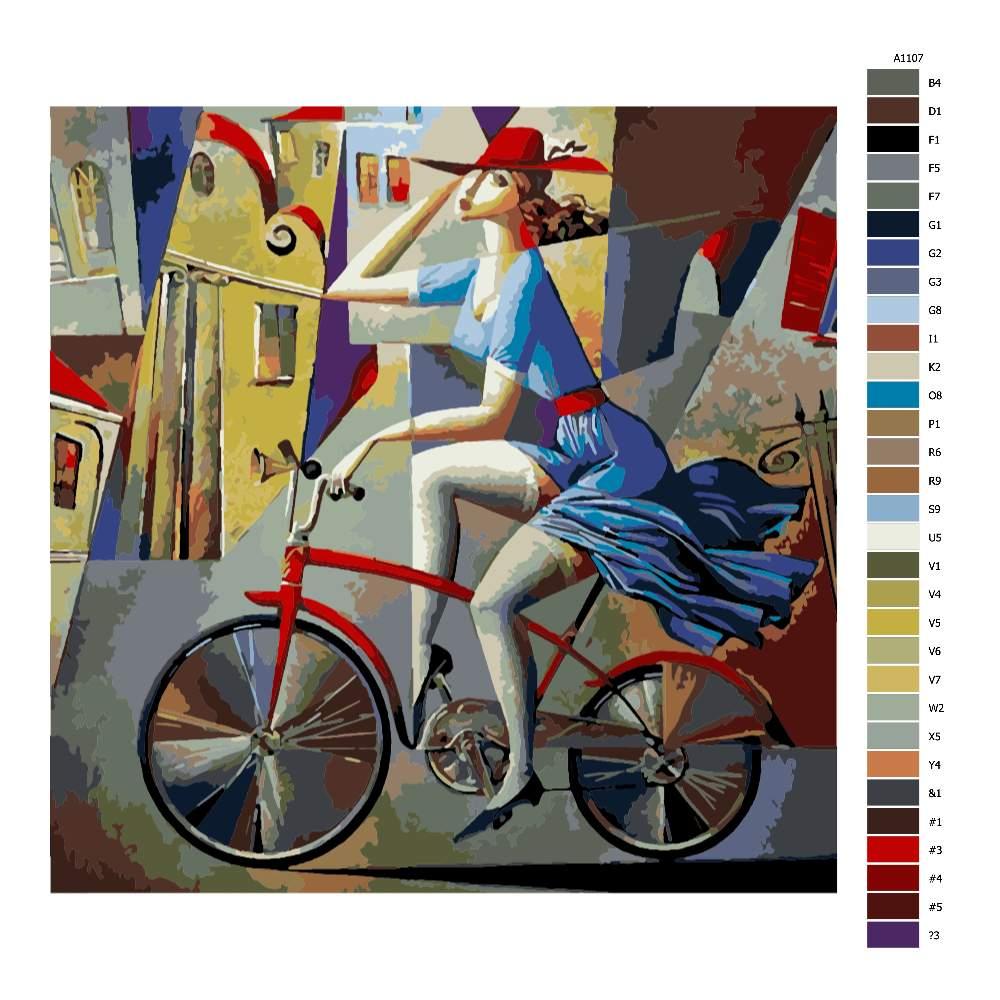 Návod pro malování podle čísel Žena na kole