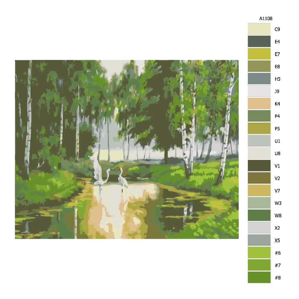 Návod pro malování podle čísel Čápi na jezirku