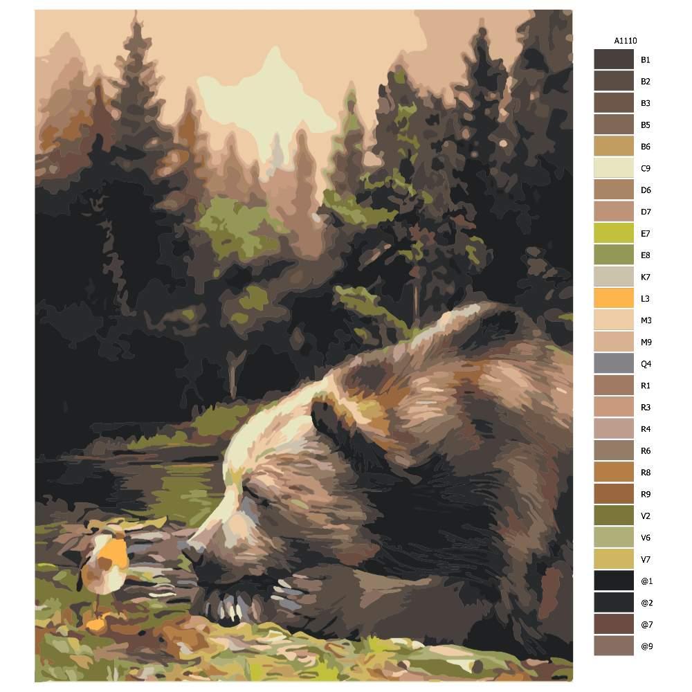 Návod pro malování podle čísel Medvěd a ptáček