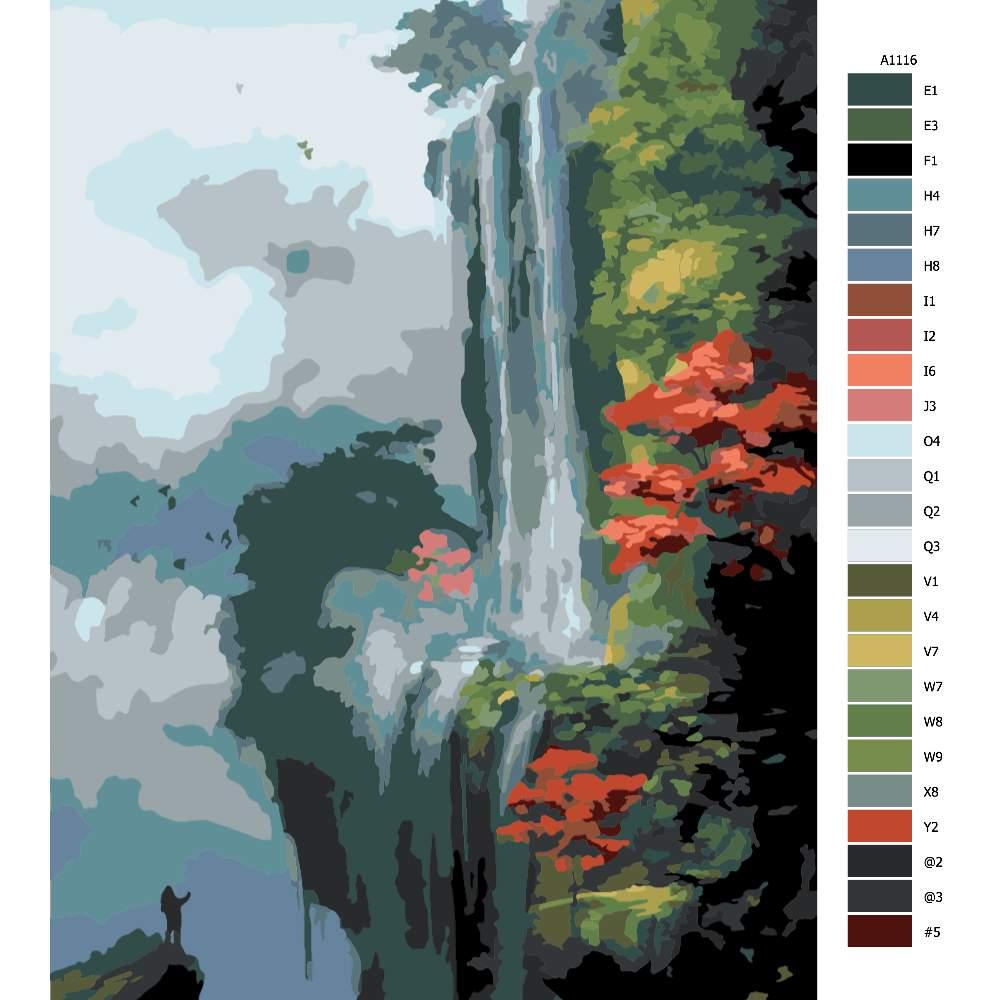 Návod pro malování podle čísel Vodopád v Japonsku