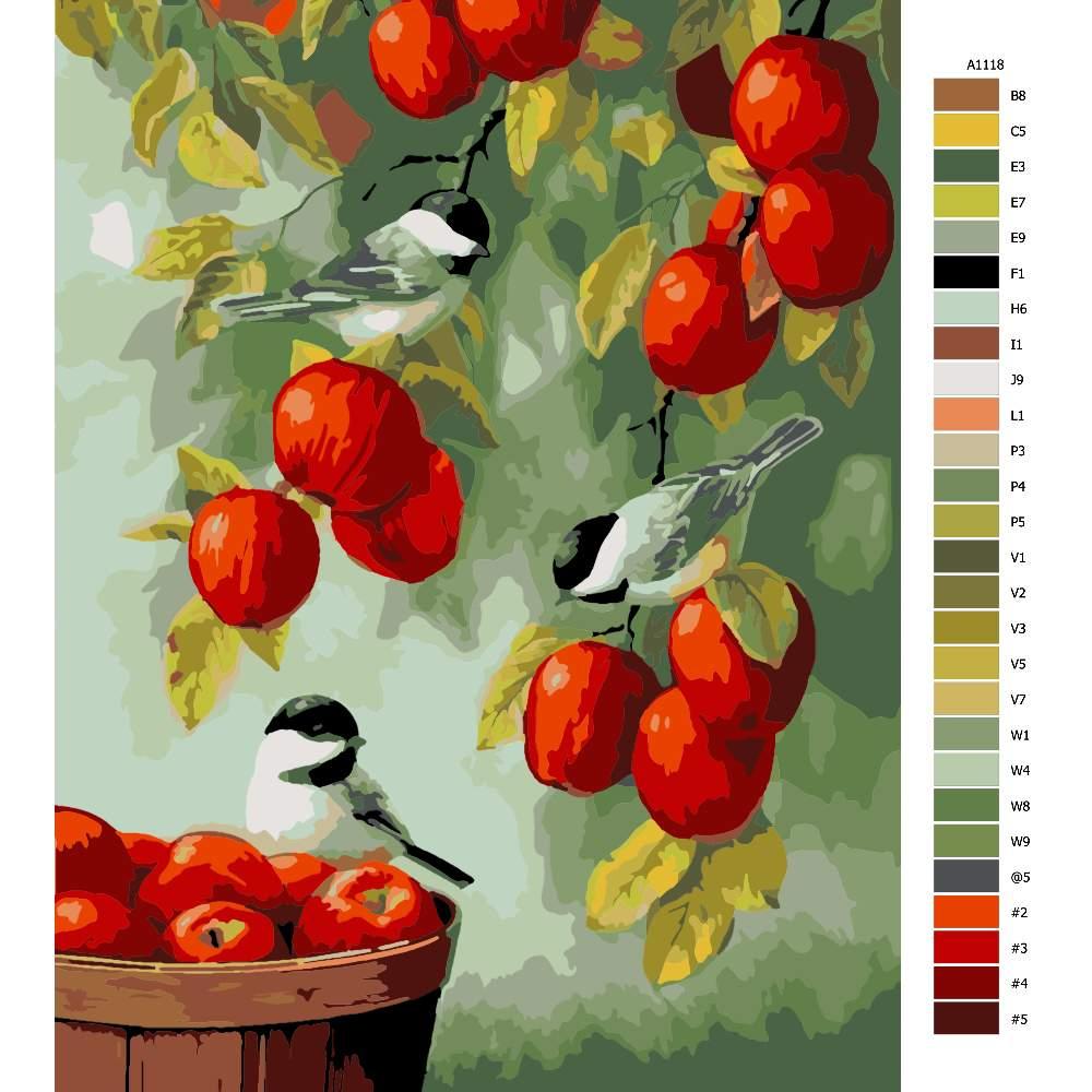 Návod pro malování podle čísel Ptáčci a jablíčka