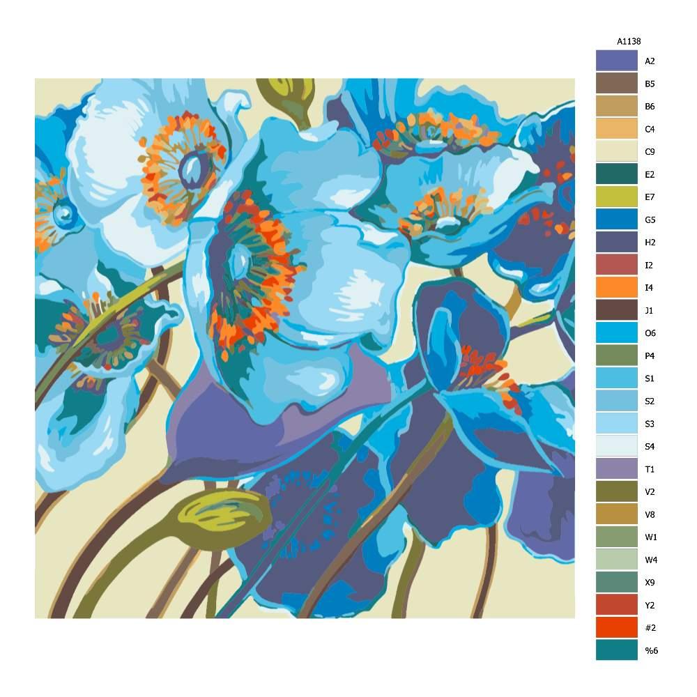 Návod pro malování podle čísel Modré květy