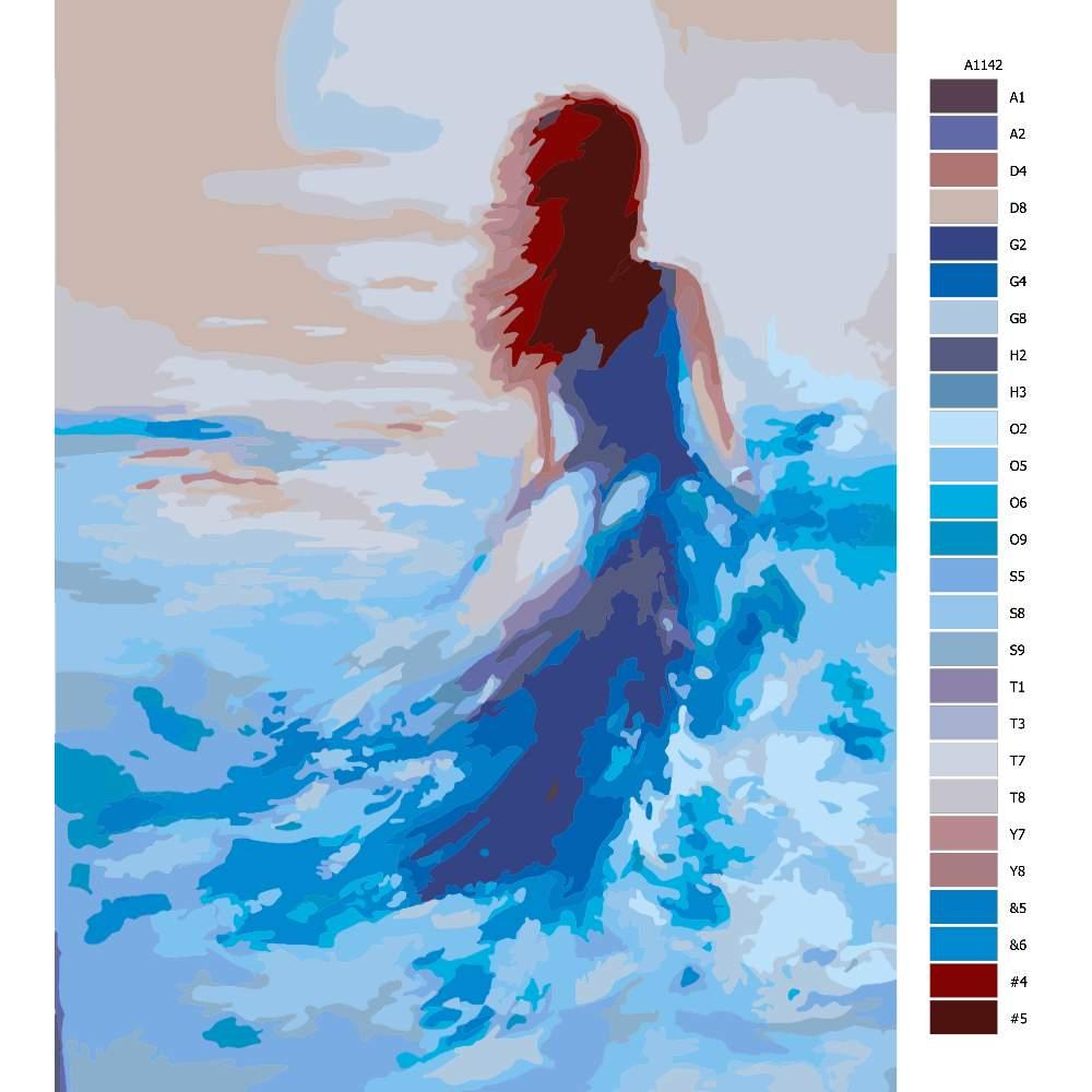 Návod pro malování podle čísel Žena ve vlnách