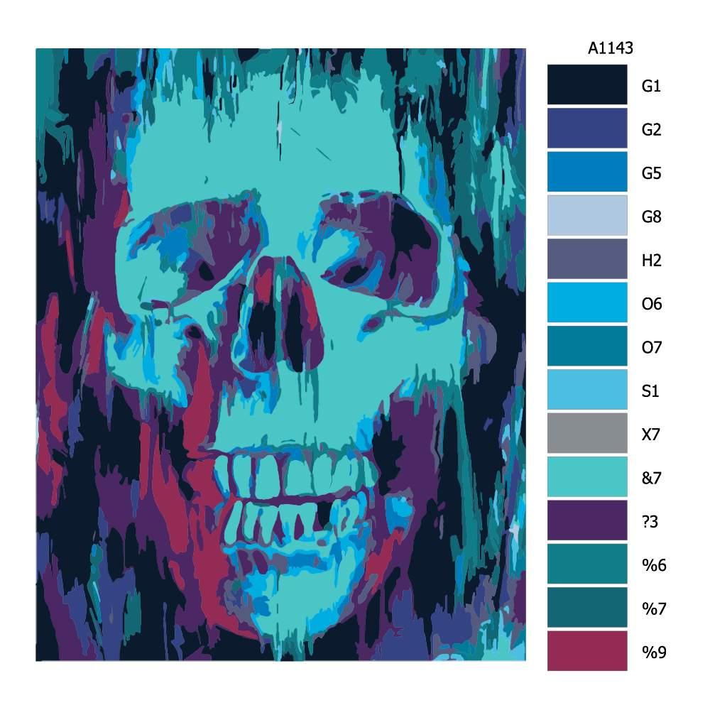 Návod pro malování podle čísel Modrá lebka