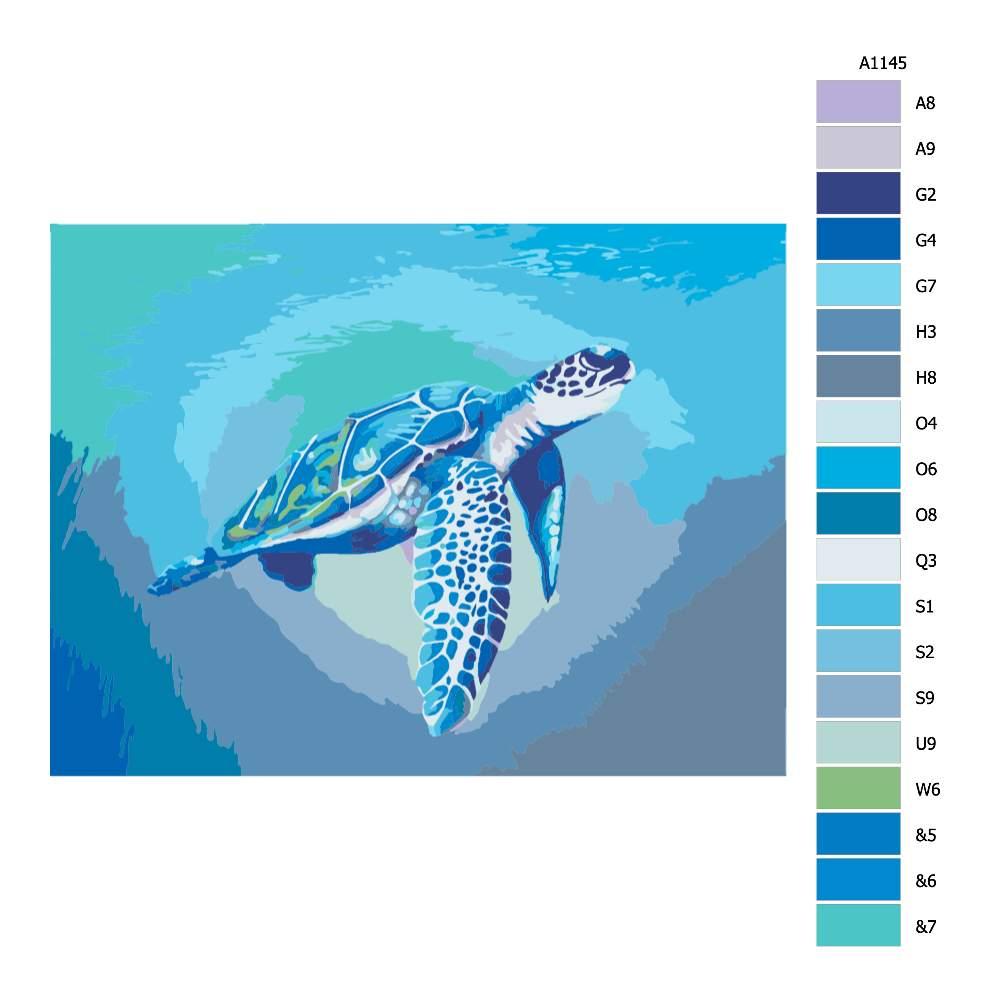 Návod pro malování podle čísel Modrá mořská želva