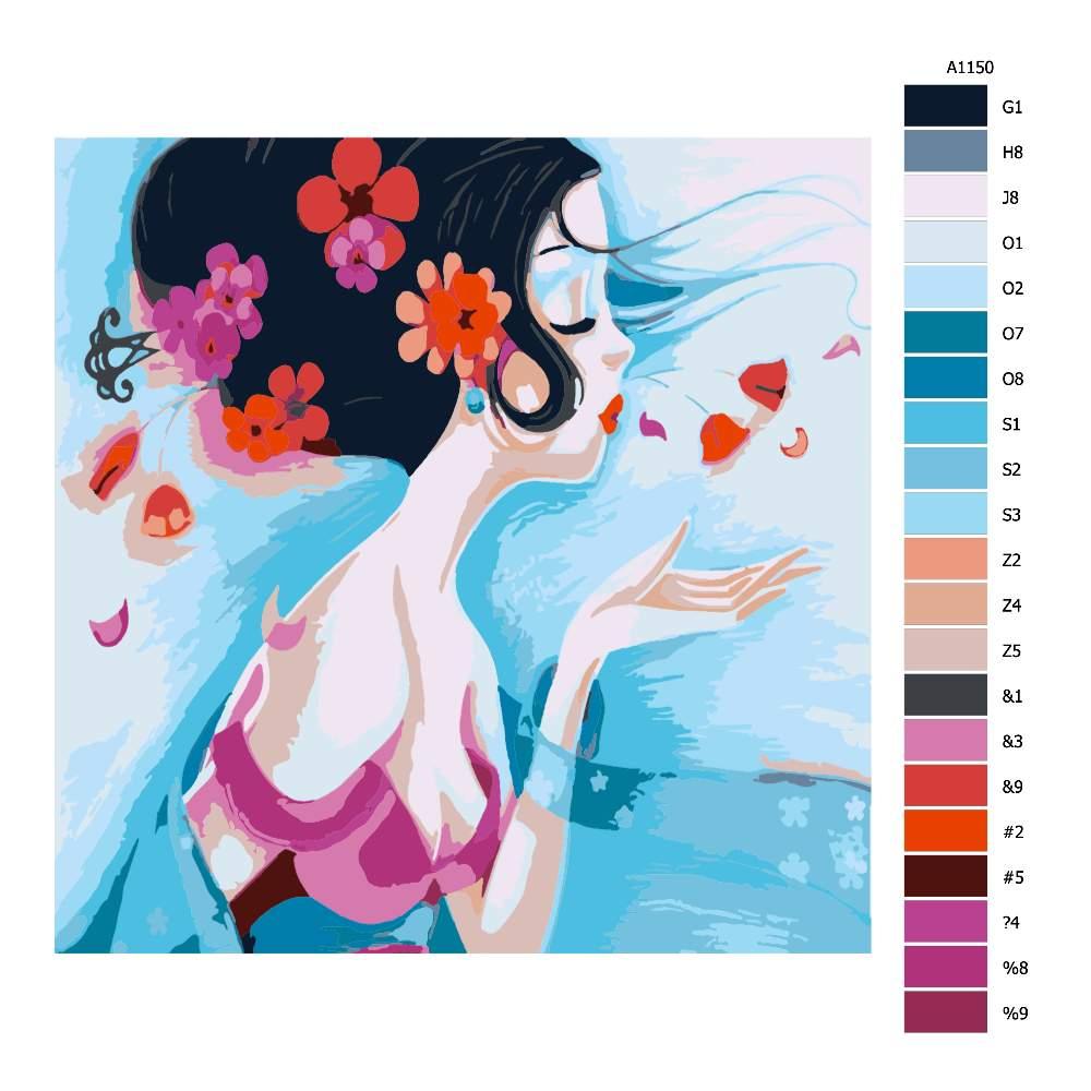 Návod pro malování podle čísel Barevný polibek