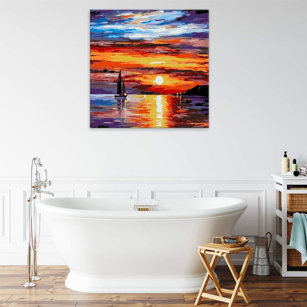 Malování podle čísel Západ slunce a loď