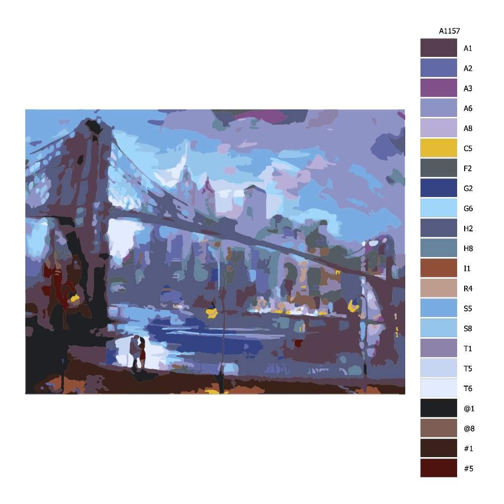 Návod pro malování podle čísel Most lásky