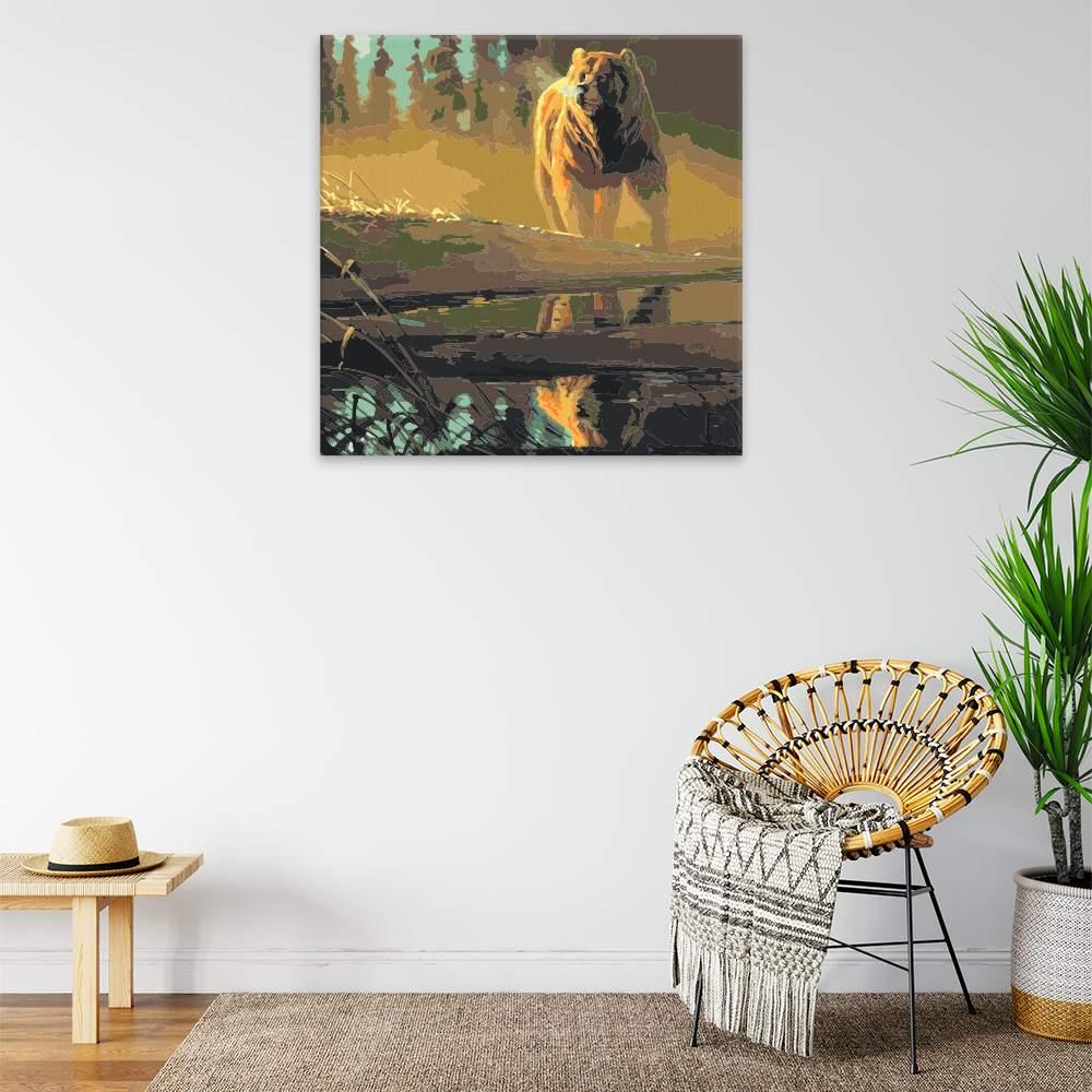 Malování podle čísel Medvěd hnědý u řeky