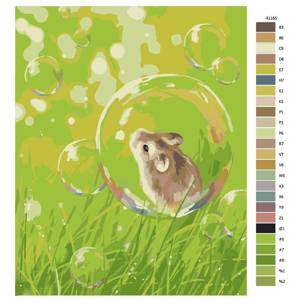 Návod pro malování podle čísel Myška v bublině