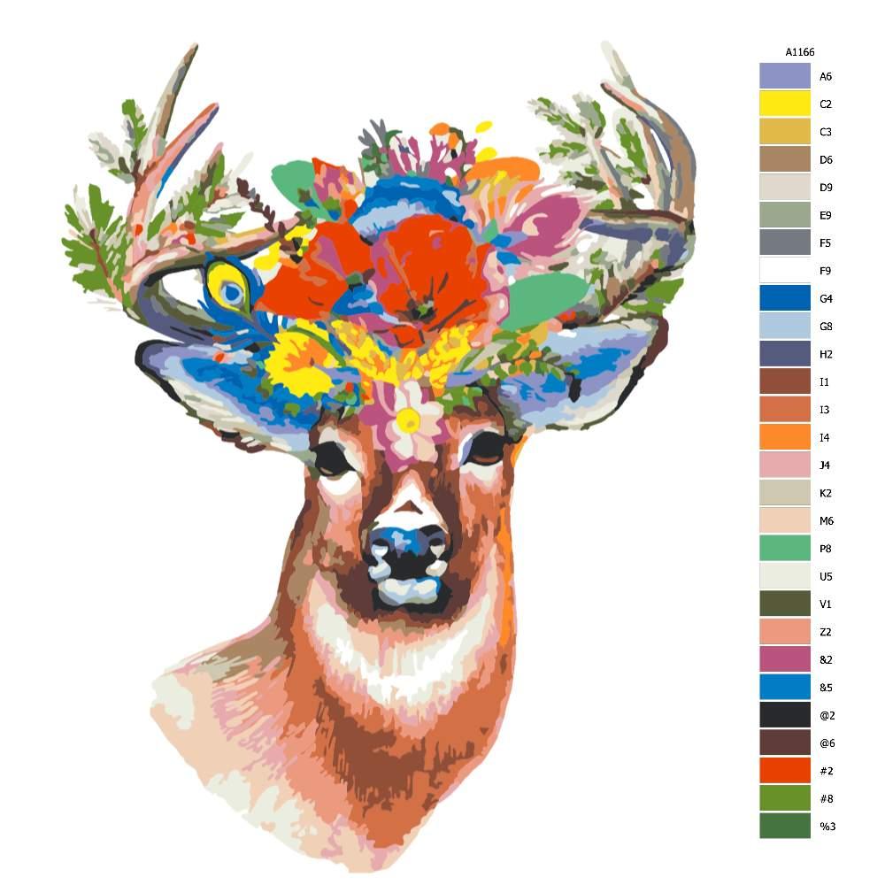 Návod pro malování podle čísel Jelen s květinou