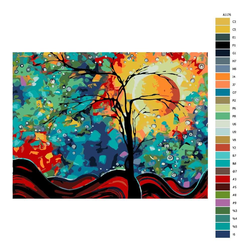 Návod pro malování podle čísel Pestrobarevná obloha