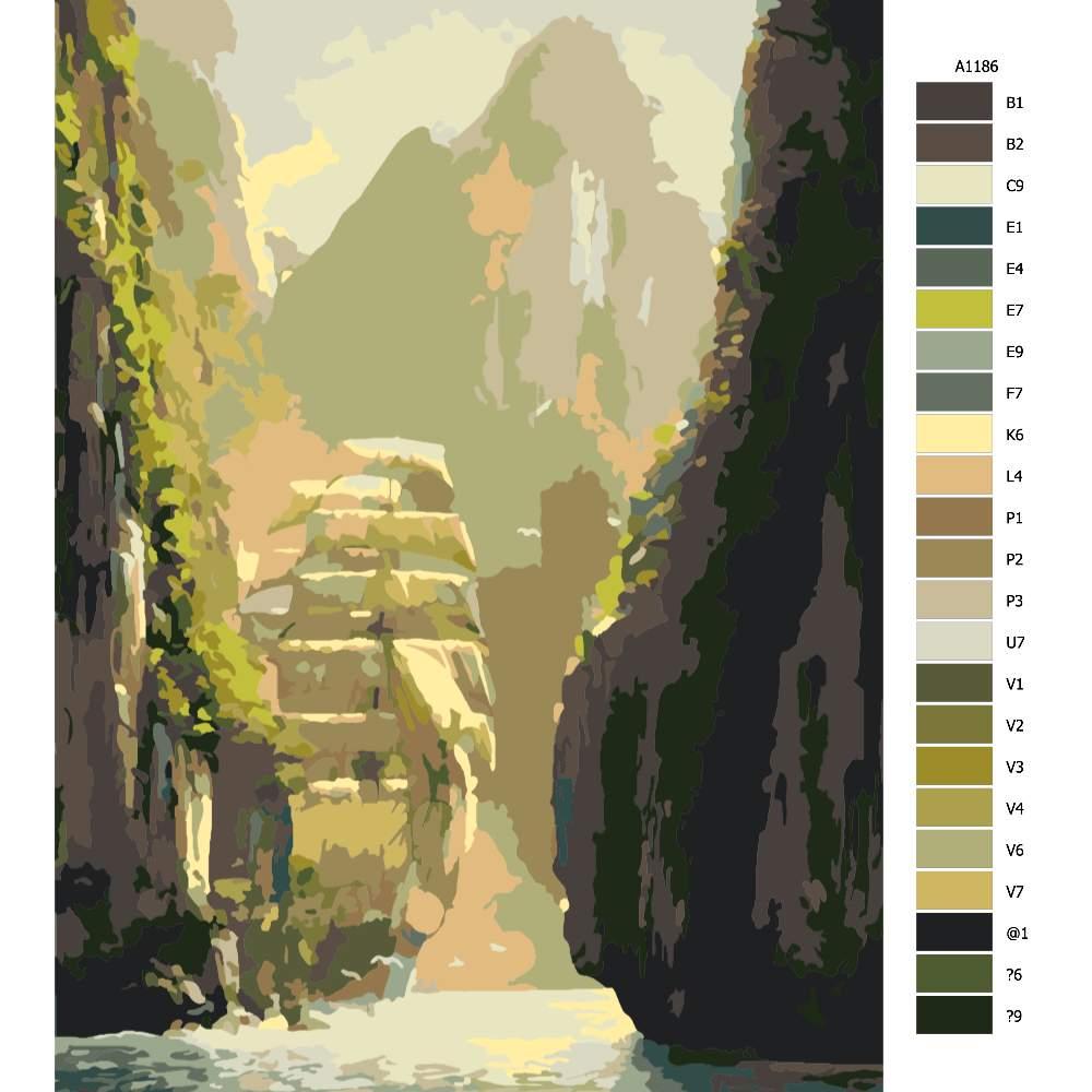 Návod pro malování podle čísel Loď v kaňonu