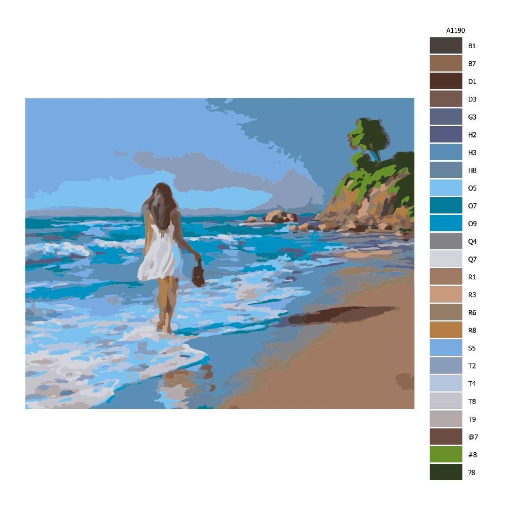 Návod pro malování podle čísel Dívka držící boty v moři