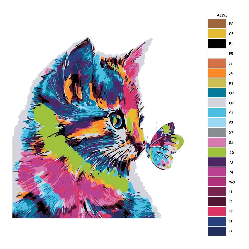 Návod pro malování podle čísel Koťátko s motýlem v barvách