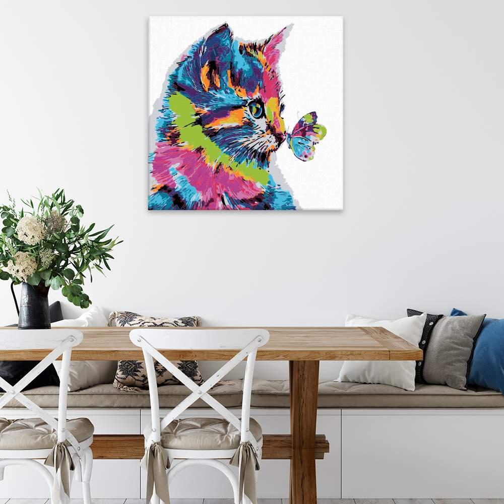 Malování podle čísel Koťátko s motýlem v barvách