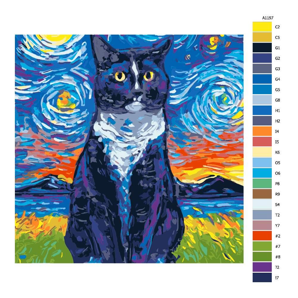 Návod pro malování podle čísel Sedící kočka pestrobarevná
